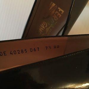 Salvatore Ferragamo Shoes - Silver Metal Heel Ferragamo Black Paten Leather